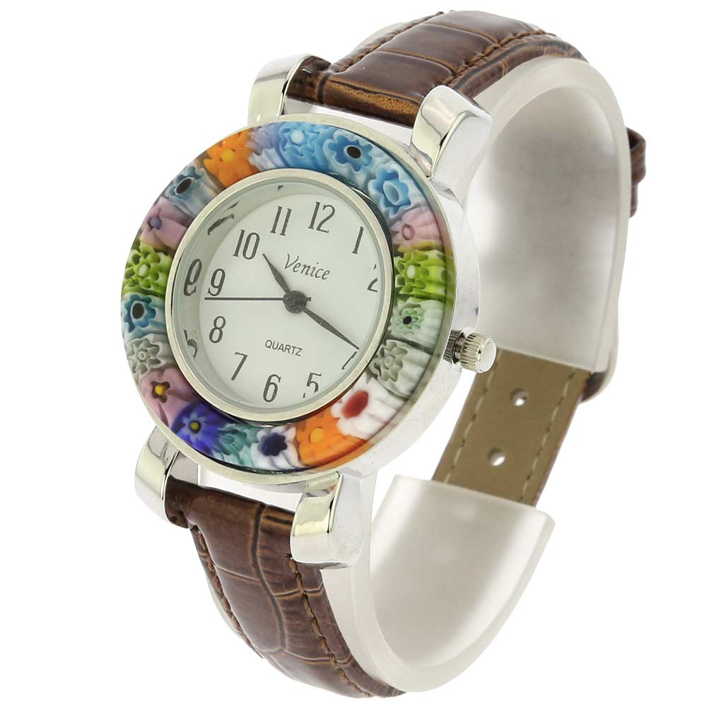 Serena Murano Millefiori Watch With Leather Band - Brown