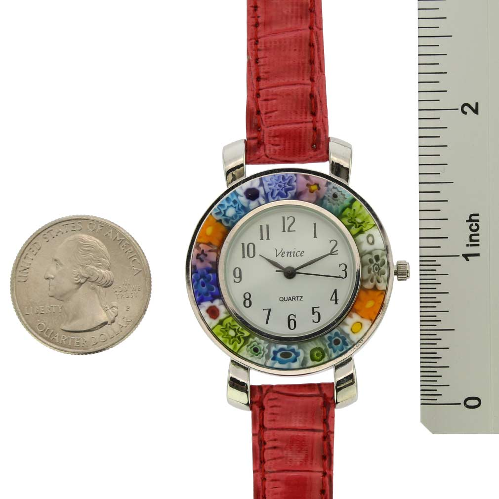 Serena Murano Millefiori Watch With Leather Band - Red