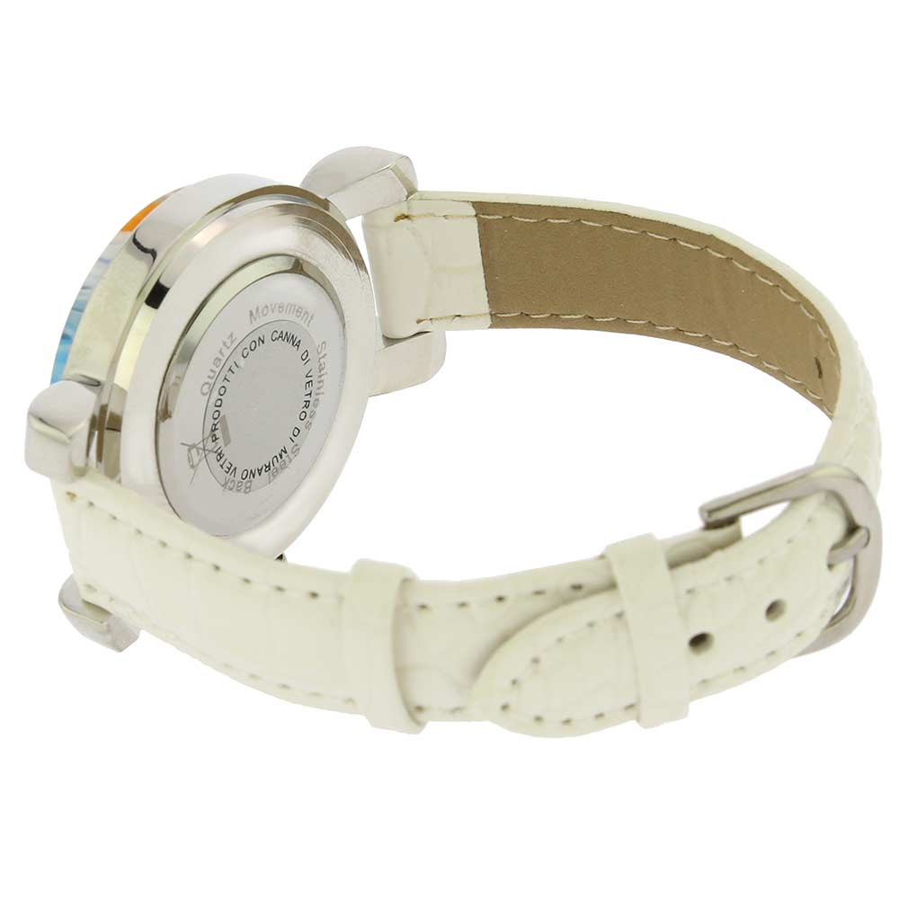 Serena Murano Millefiori Watch With Leather Band - White