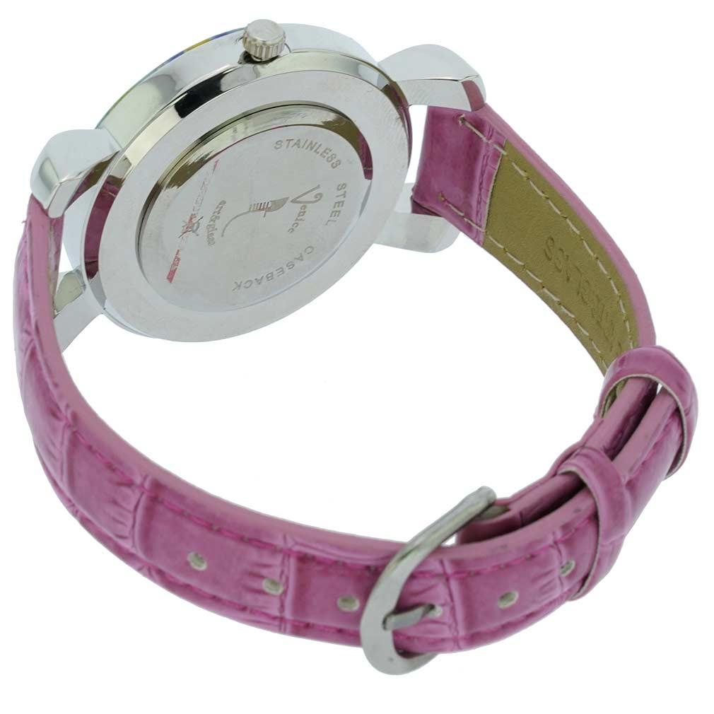 Serena Murano Millefiori Watch With Leather Band - Purple