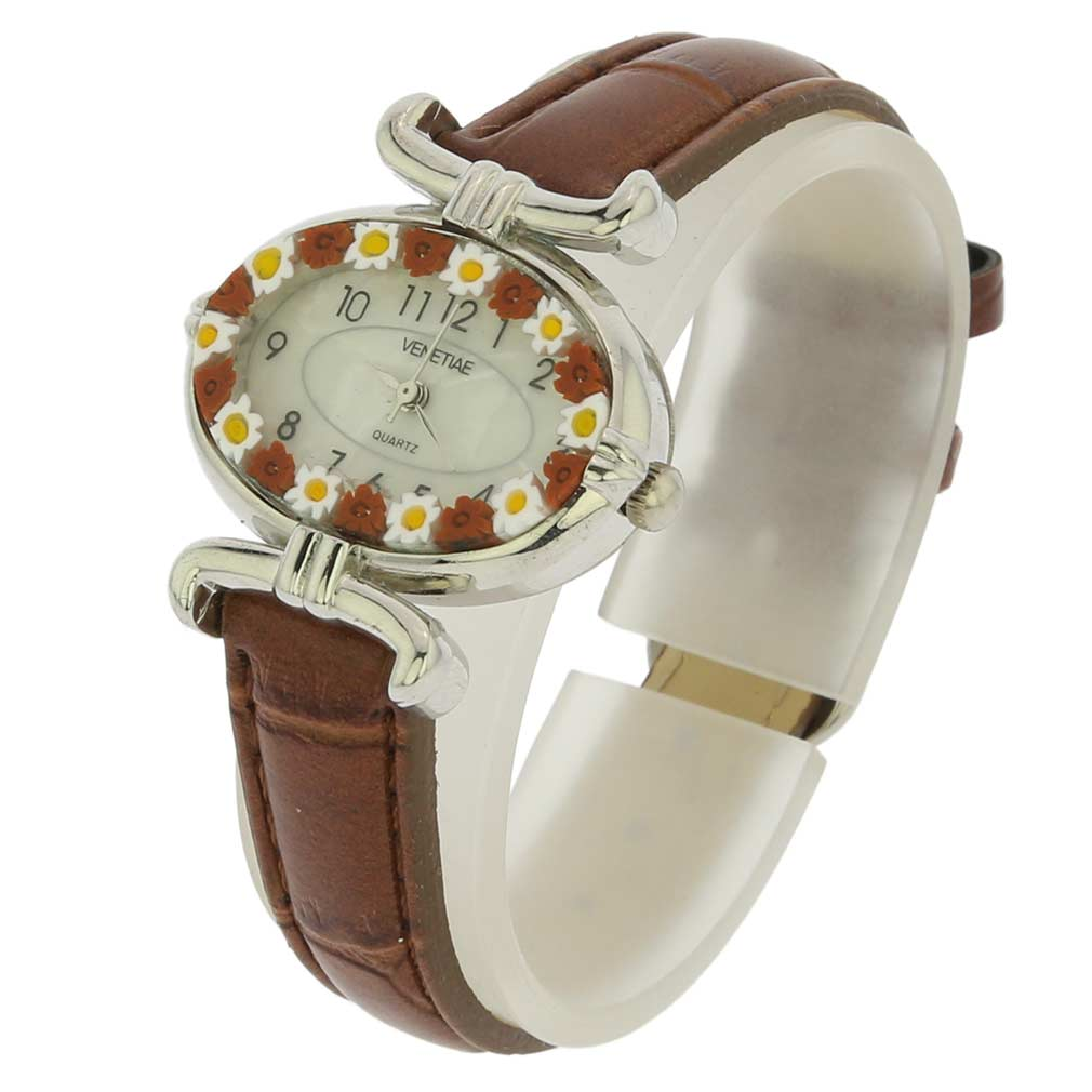 Murano Millefiori Oval Watch with Leather Band - Brown