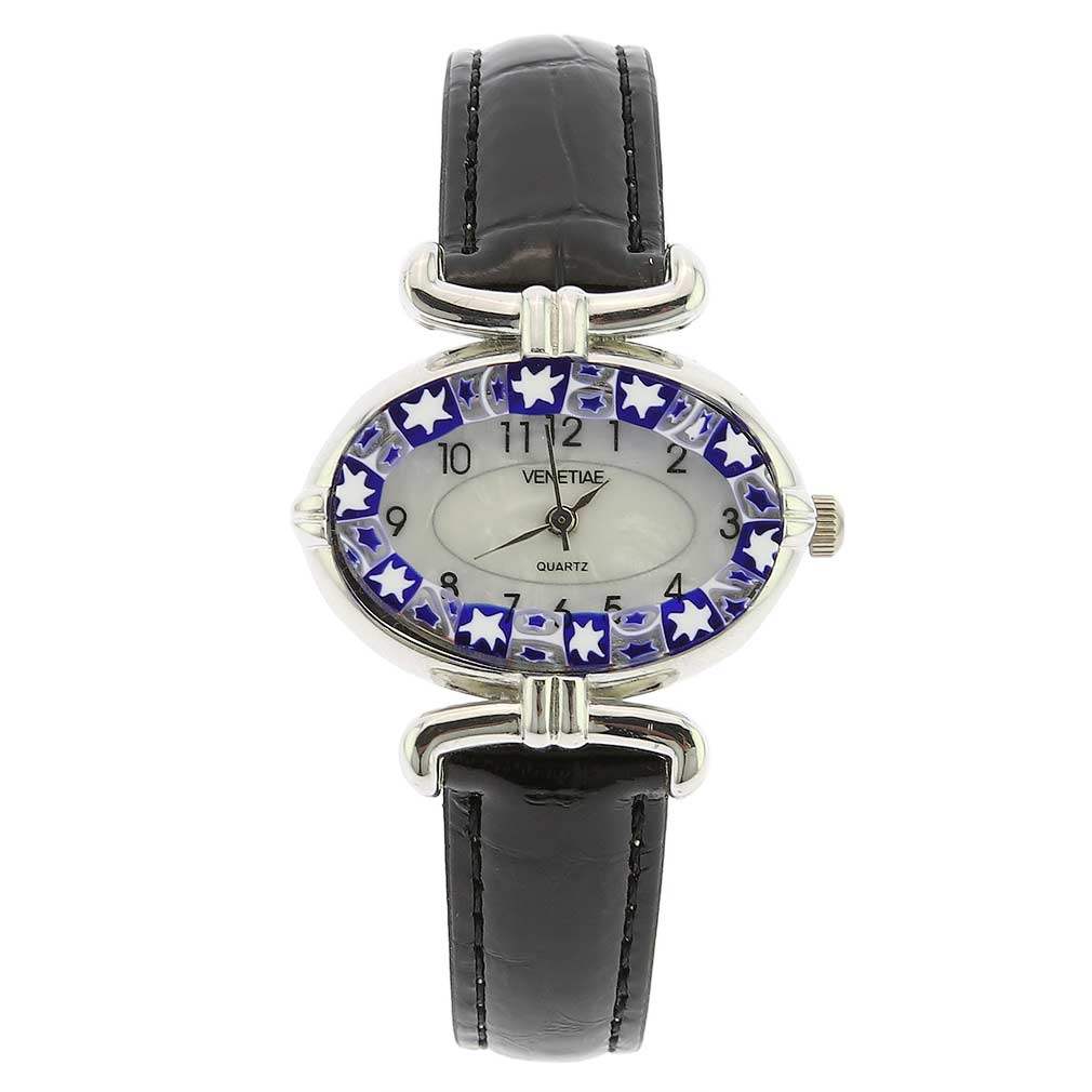 Murano Millefiori Oval Watch With Leather Band - Black