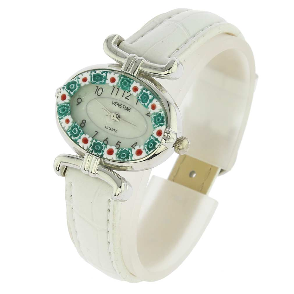 Murano Millefiori Oval Watch with Leather Band - White