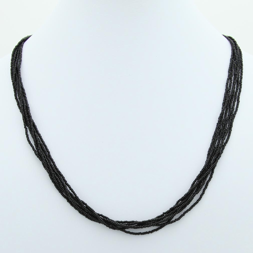 Six Strand Seed Bead Necklace - Midnight Black