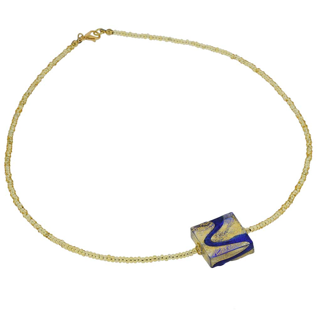 Royal Blue Square Necklace