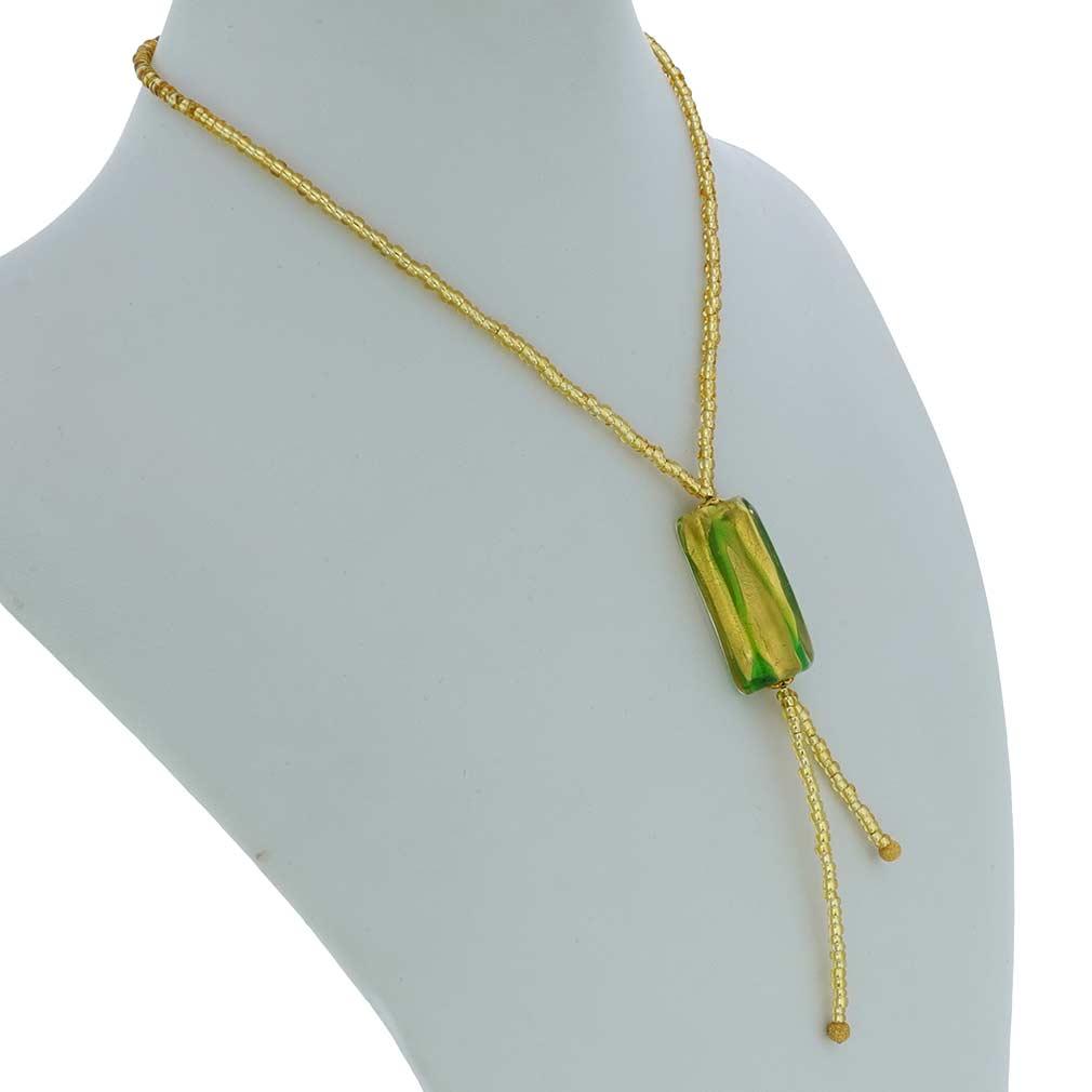 Royal Green Block Tie Necklace