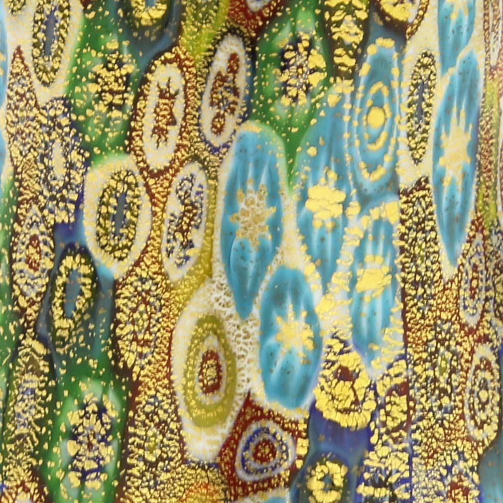 Golden Quilt Multicolor Green Millefiori Bell