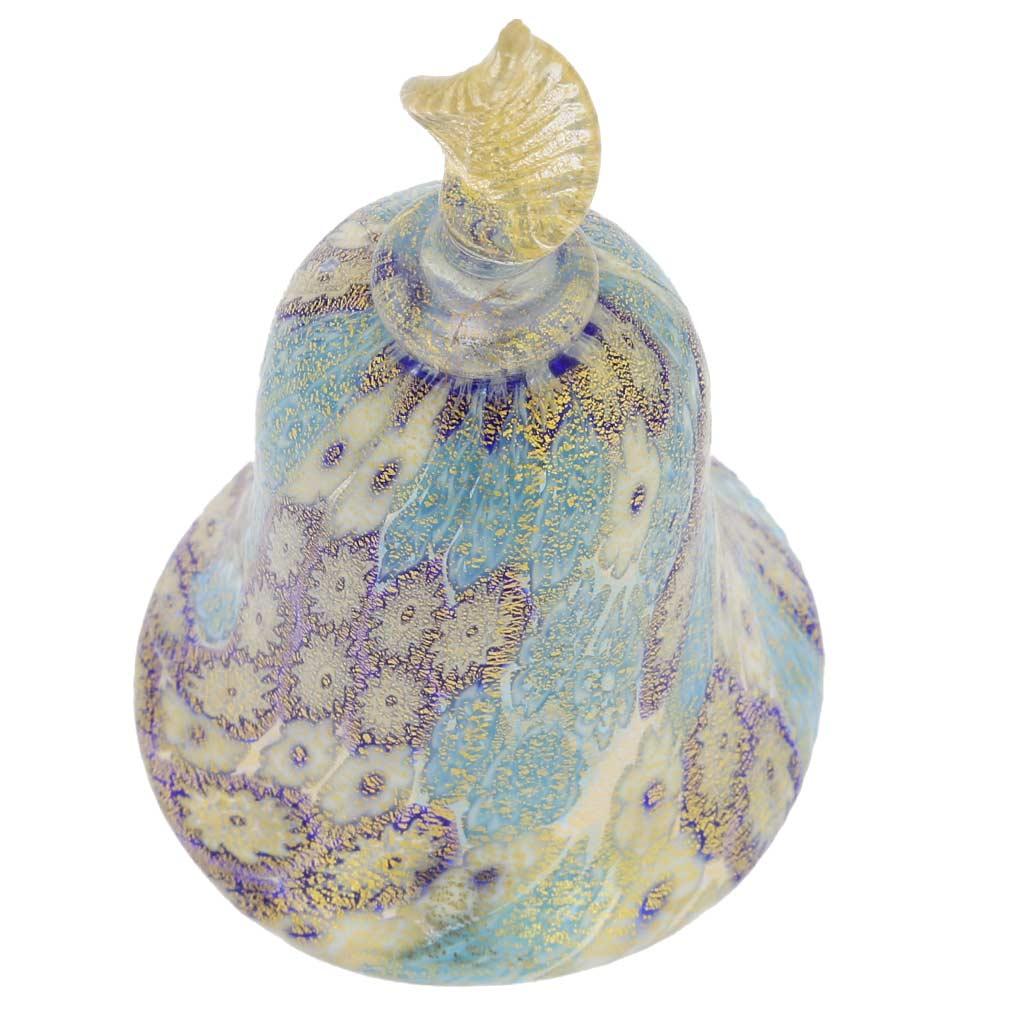 Golden Quilt Tender Blue Millefiori Bell