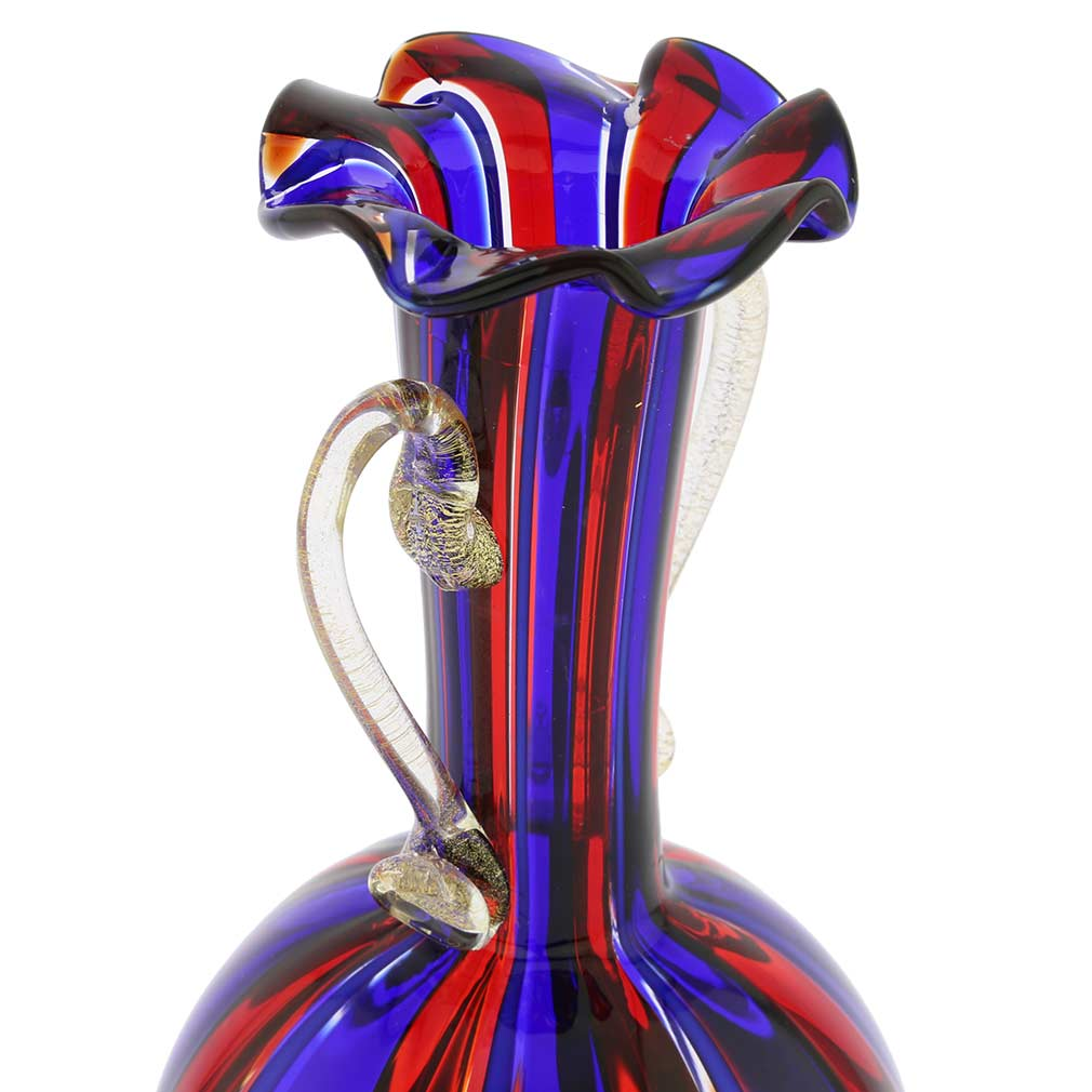 Small Vase With Handles - Blue and Red Stripes