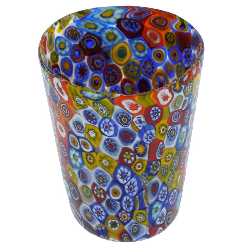 Murano Glass Tumbler - Multicolor Millefiori