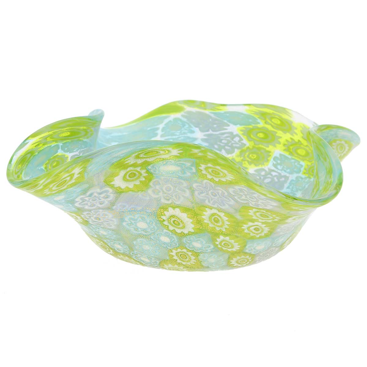 Murano Millefiori Decorative Bowl - Aqua Green