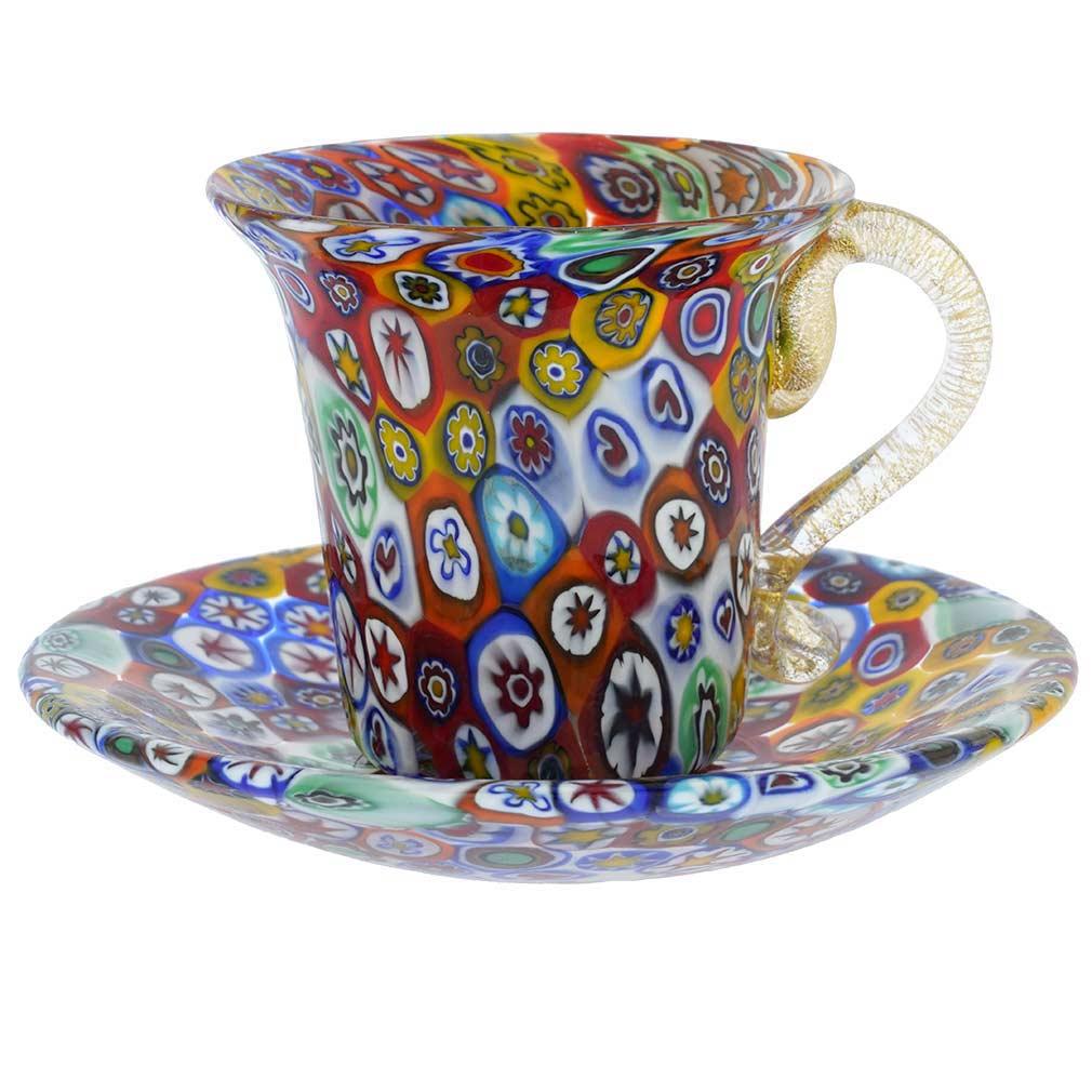 Murano Millefiori Cup and Saucer - Multicolor