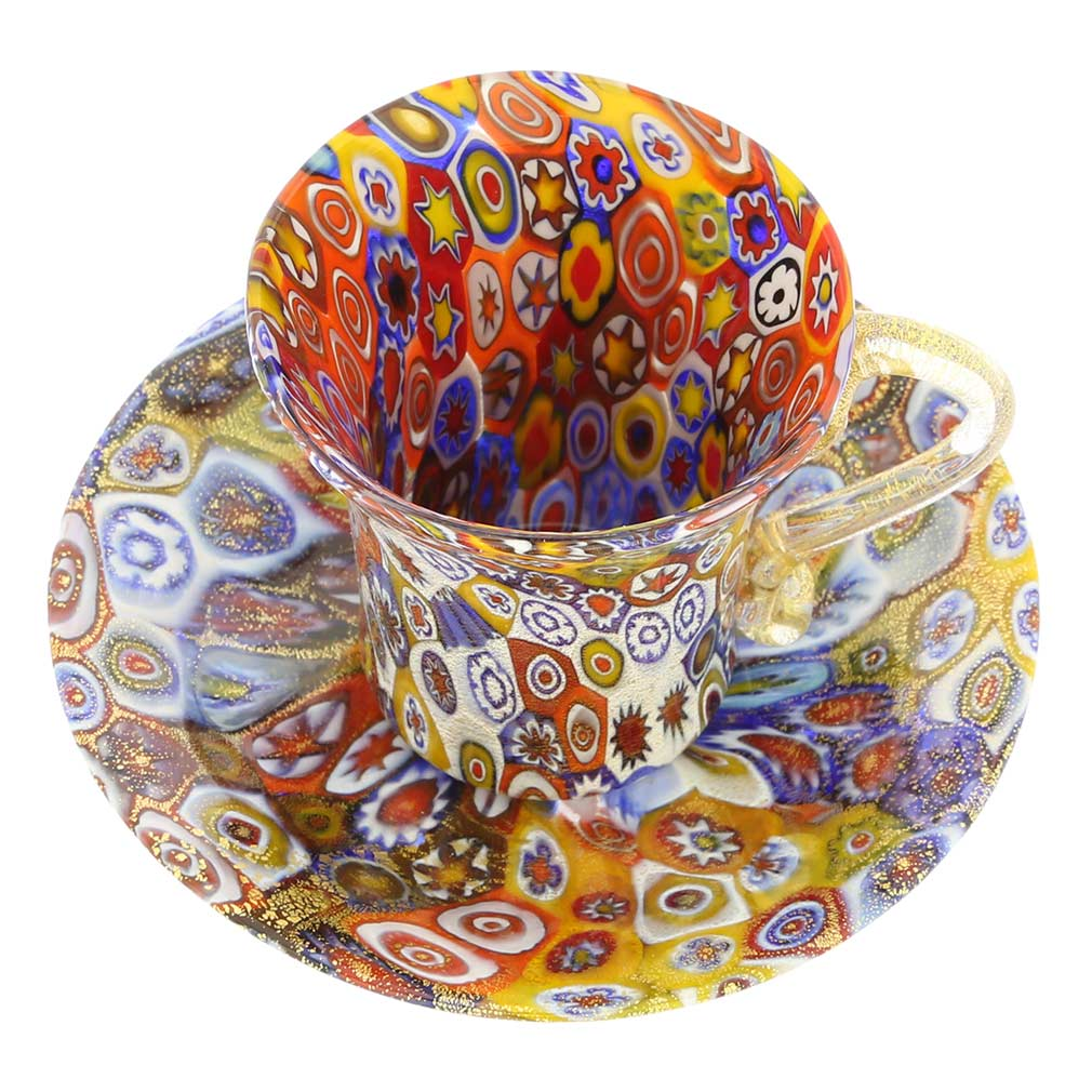 Golden Quilt Murano Millefiori Cup and Saucer