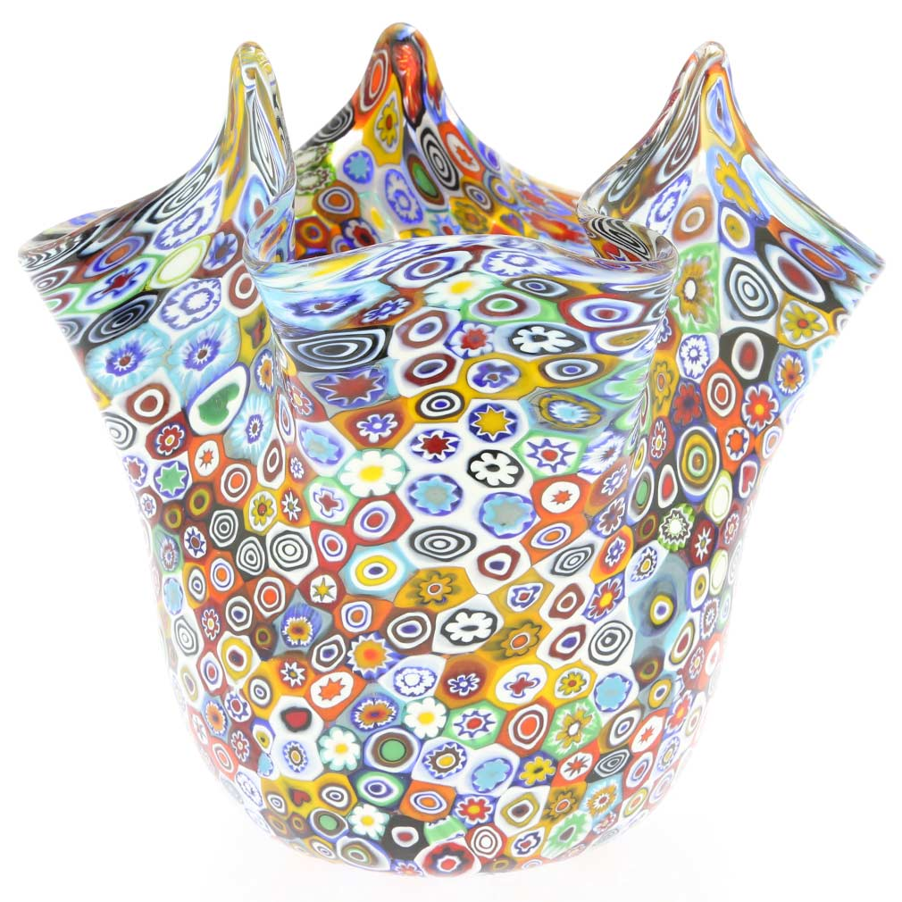 Murano Glass Millefiori Fazzoletto Bowl - Multicolor