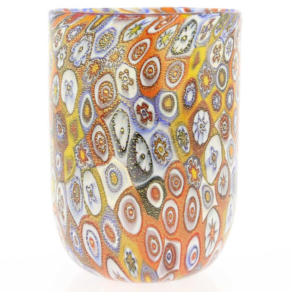 Murano Tumbler - Golden Quilt Millefiori