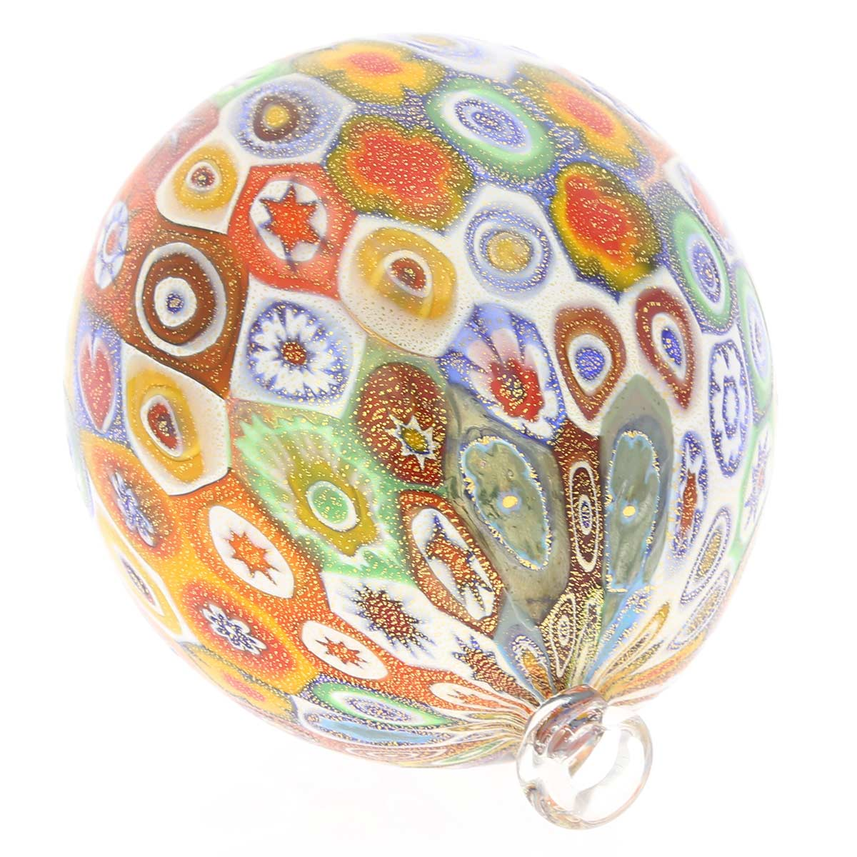 Murano Glass Christmas Ornament - Gold Millefiori