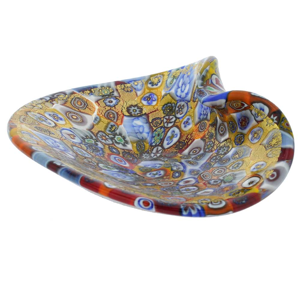 Murano Glass Decorative Plate - Golden Quilt Millefiori