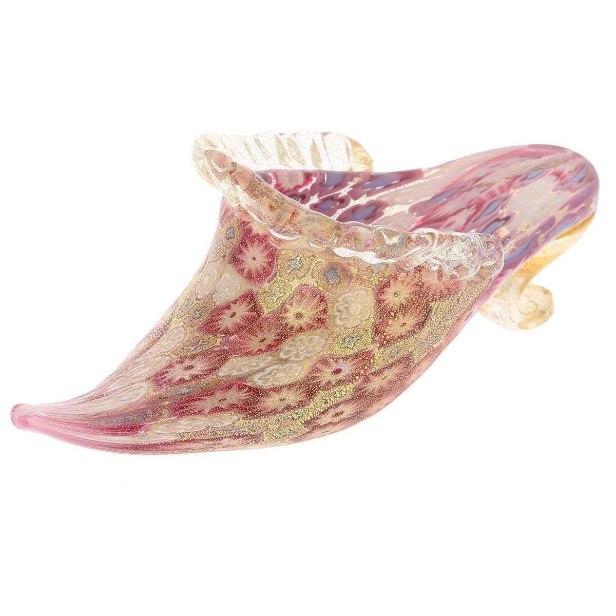 Golden Quilt Tender Rose Millefiori Murano Slipper