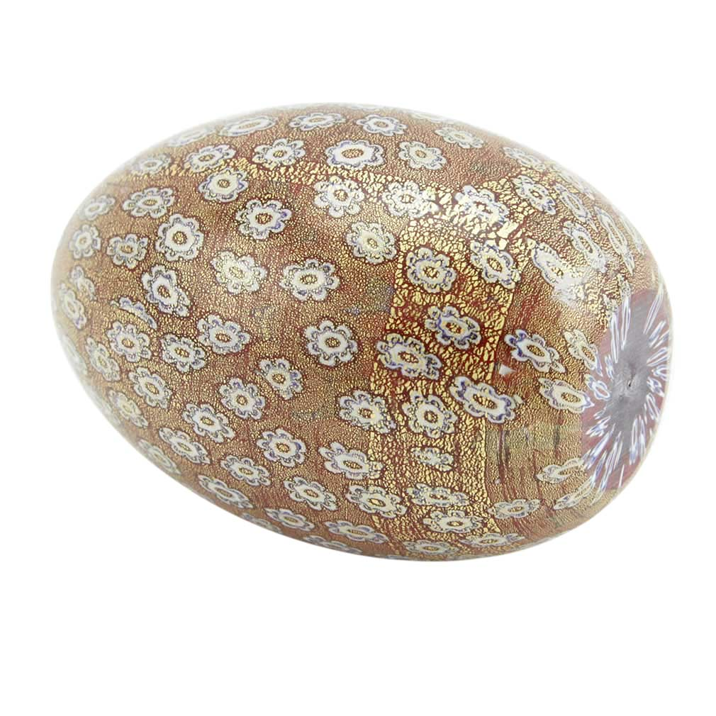 Millefiori Murano Glass Egg - Golden Red