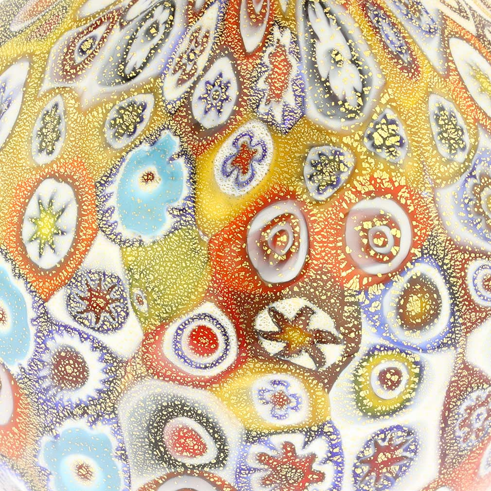Golden Quilt Millefiori Small Vase With Handles