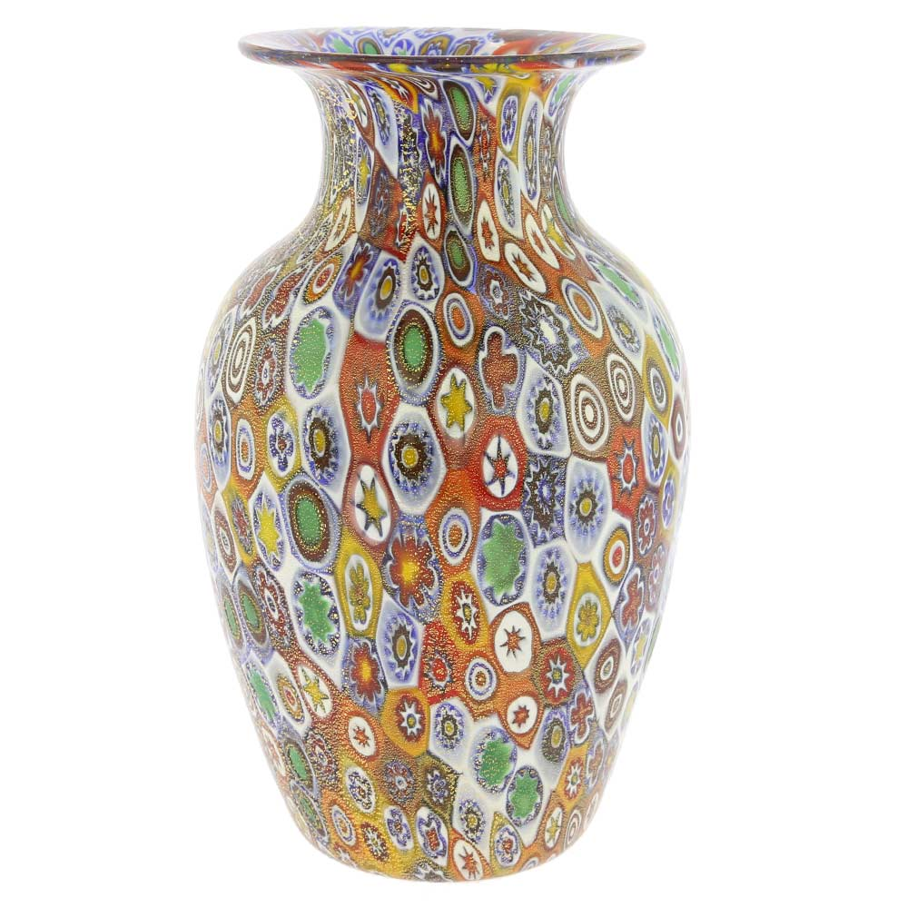 murano glass vases golden quilt millefiori urn vase. Black Bedroom Furniture Sets. Home Design Ideas