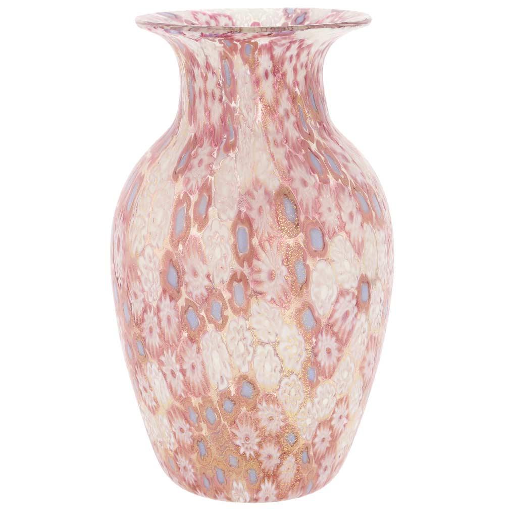Golden Quilt Millefiori Urn Vase - Pink