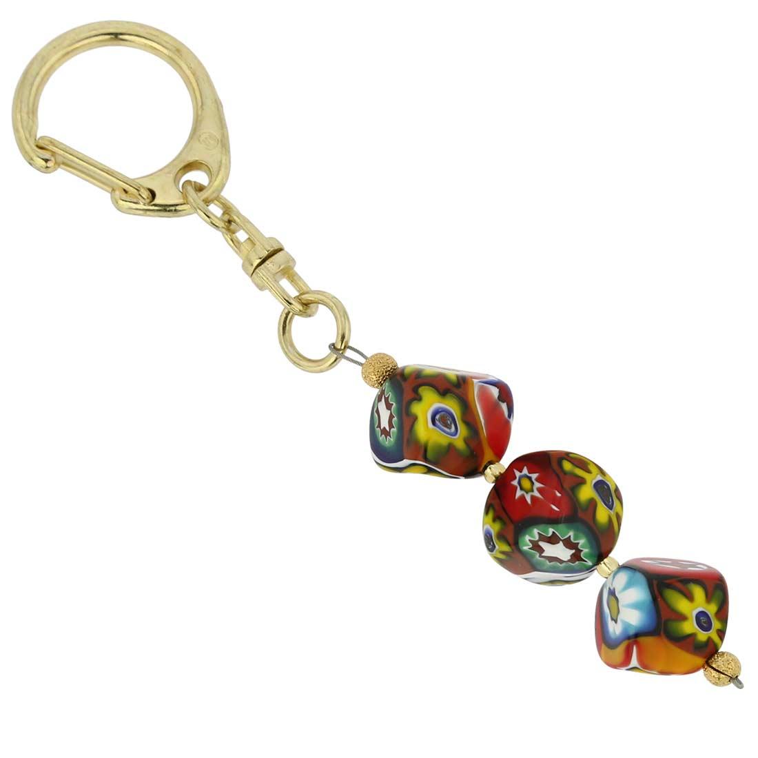 Murano Mosaic Cubes Keychain