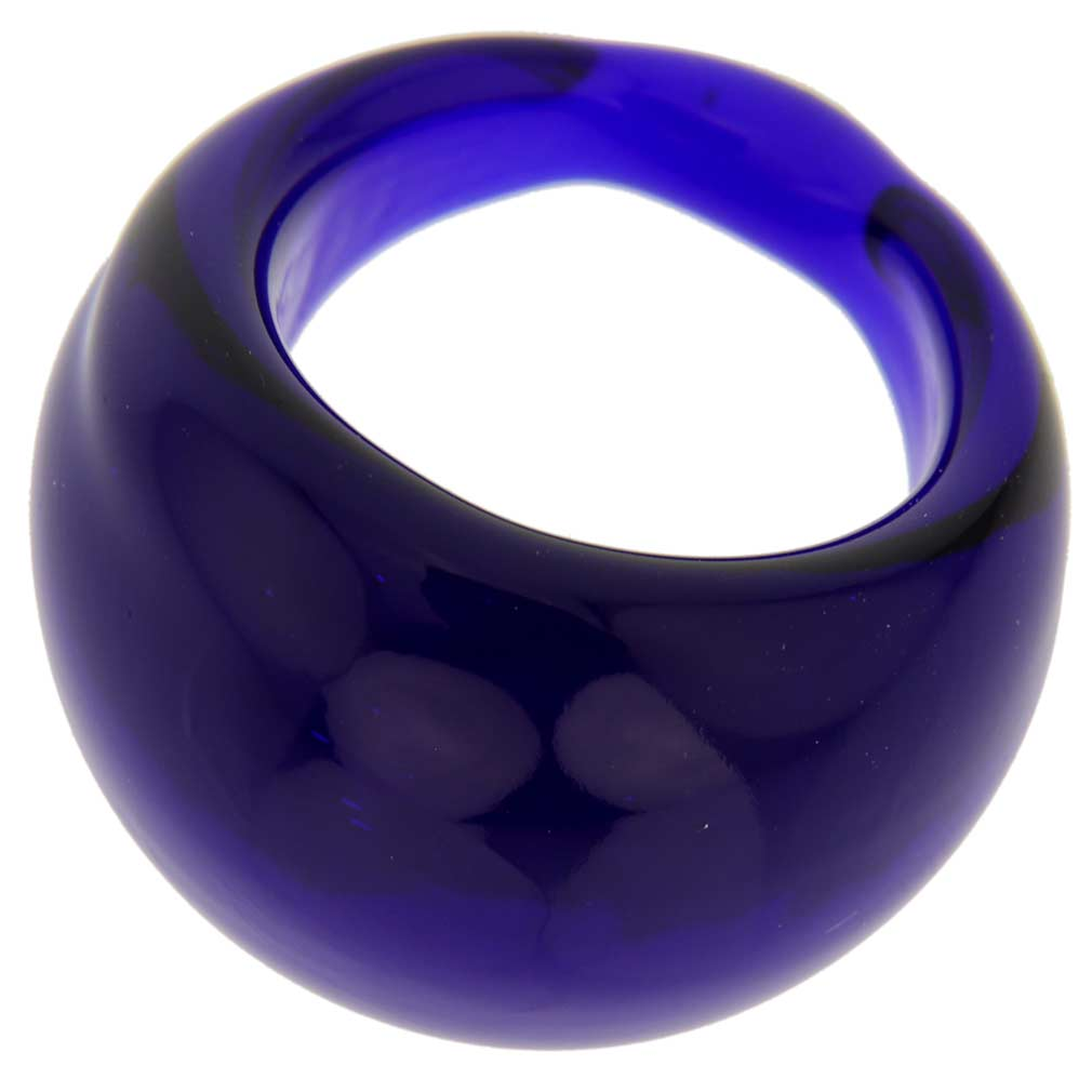 Venetian Contemporary Ring In Domed Design - Navy Blue