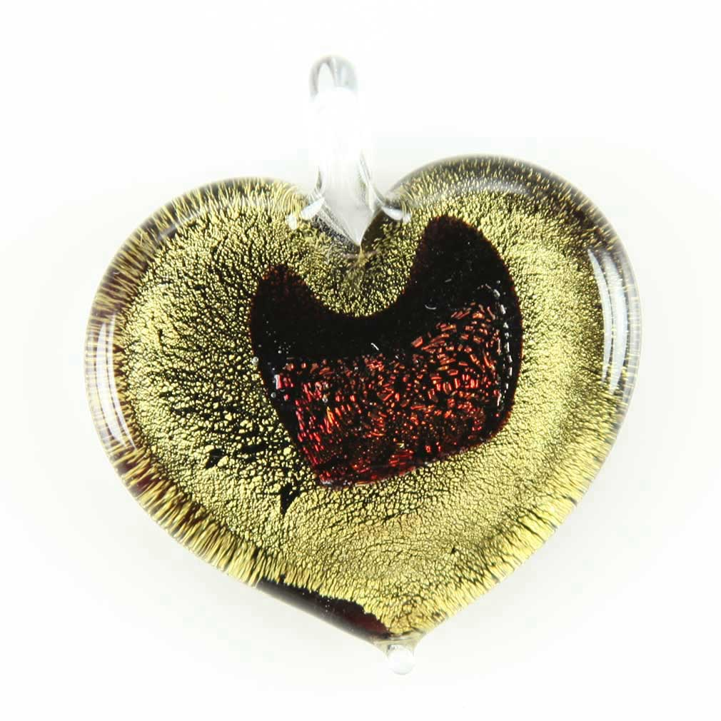 Gold and Cognac Heart-shaped pendant