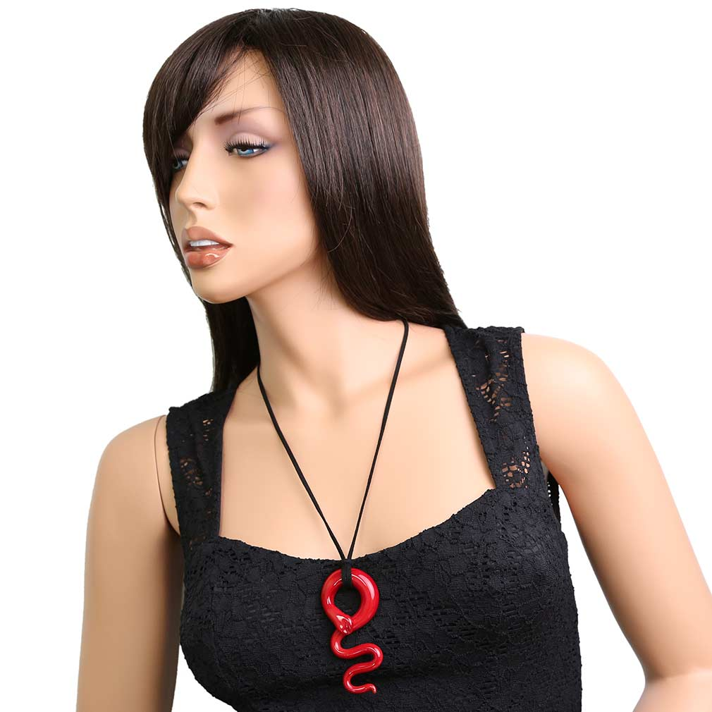 Red Snake Murano Pendant Necklace