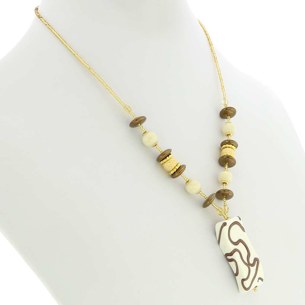 Grazia Murano Glass Necklace - Ivory Gold