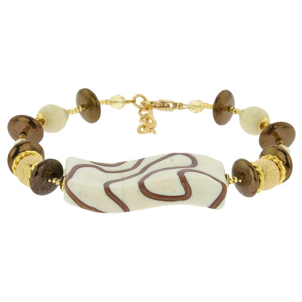 Grazia Murano Glass Bracelet - Ivory Gold