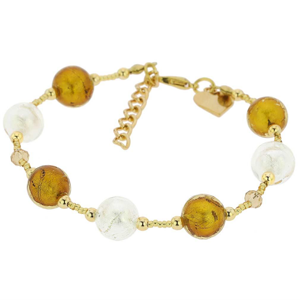 Beatrice Murano Glass Bracelet - Topaz Gold