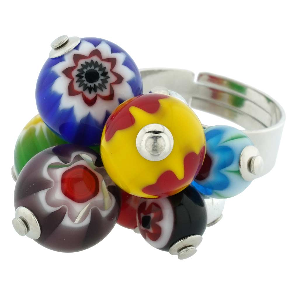 Sorgente Millefiori Murano Glass Ring - Multicolor