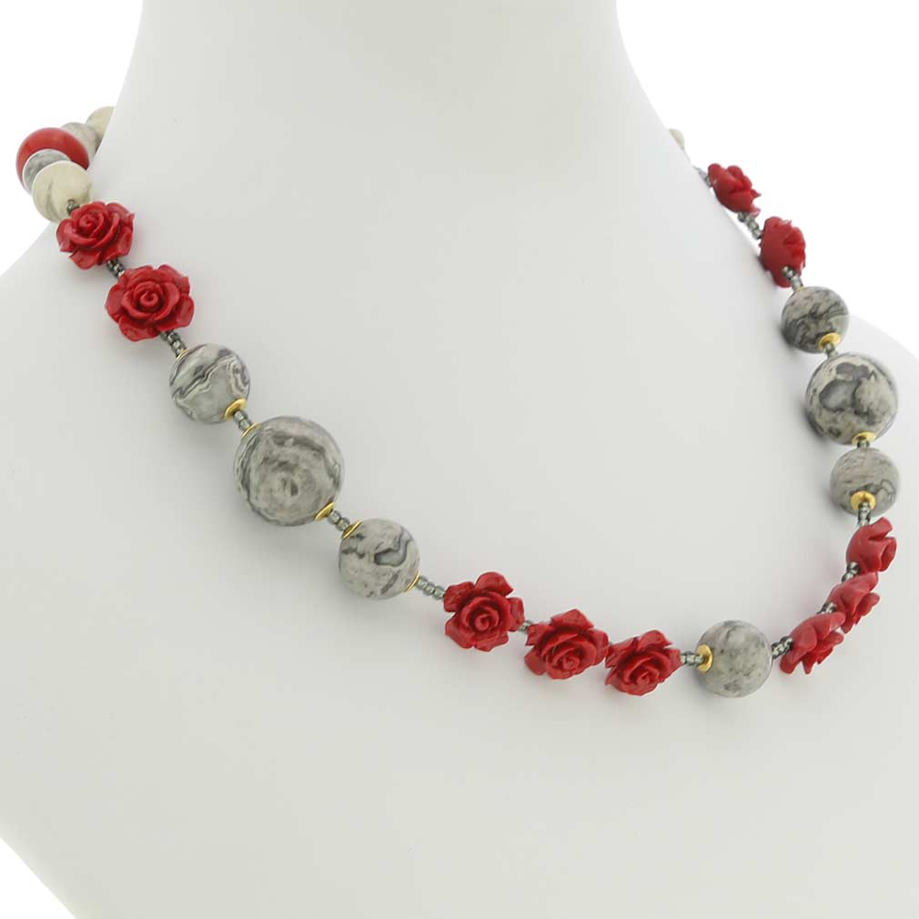 Rosa Di Marmo Murano Glass Necklace