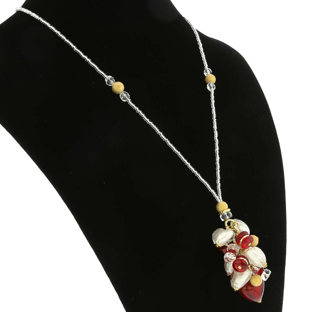Donatella Murano Glass Heart Charms Necklace - Red