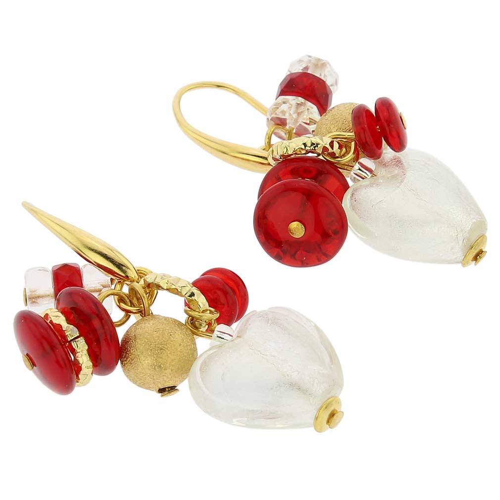 Donatella Murano Glass Heart Charm Earrings - Red