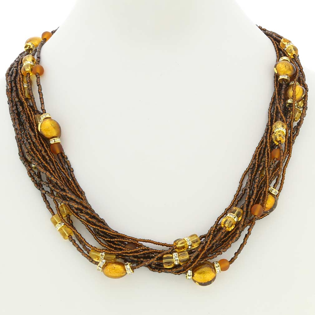 Alessia Murano Glass Necklace - Golden Brown