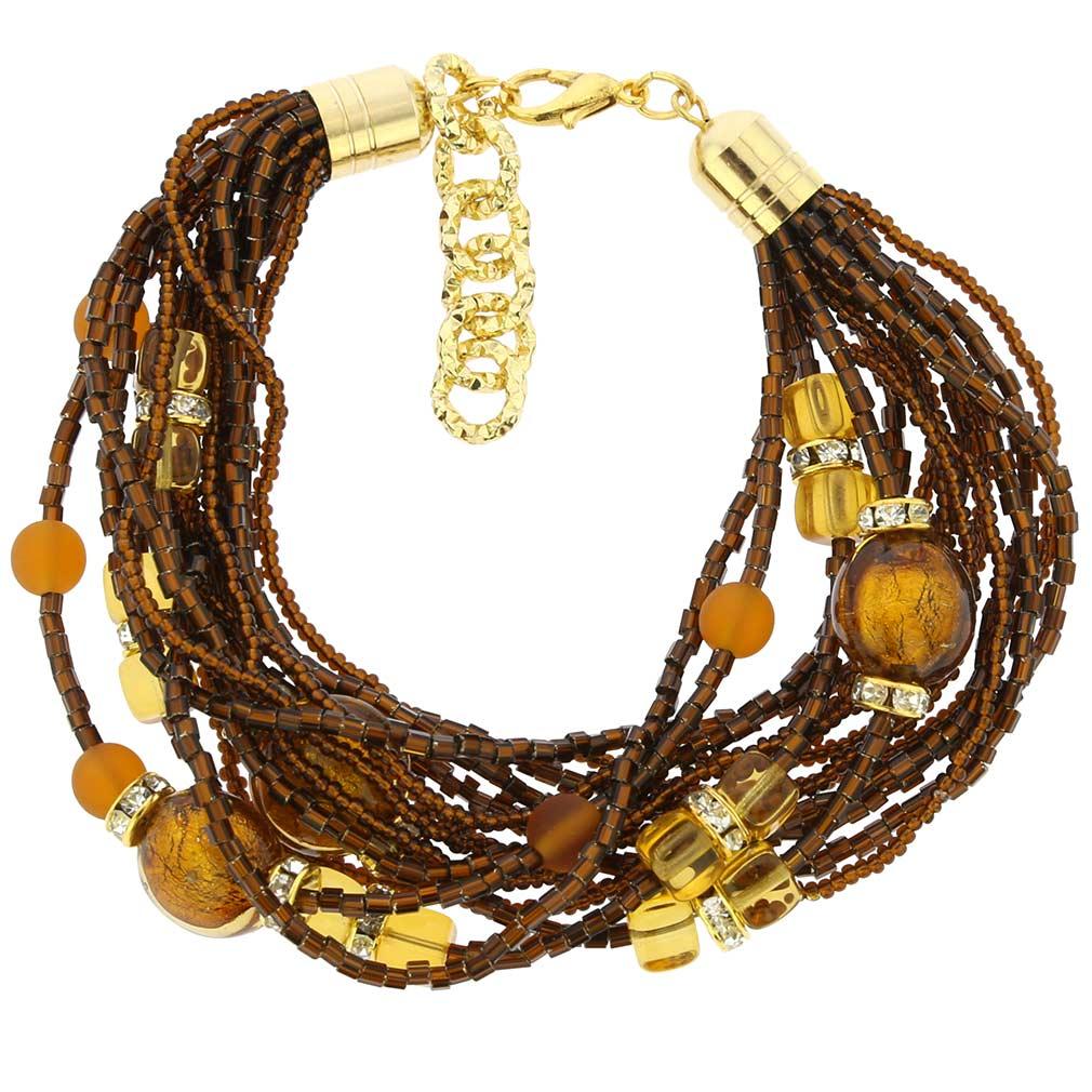 Alessia Murano Glass Bracelet - Golden Brown