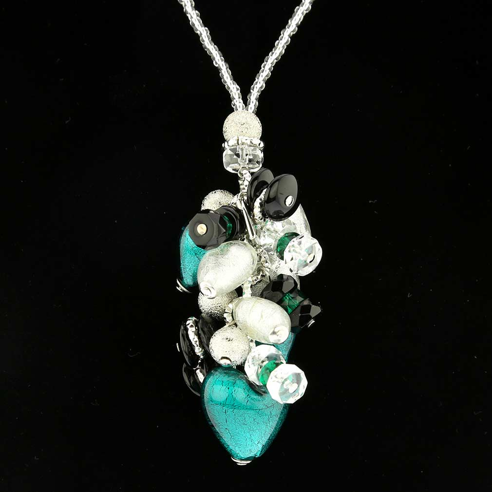 Donatella Murano Glass Heart Charms Necklace - Aqua
