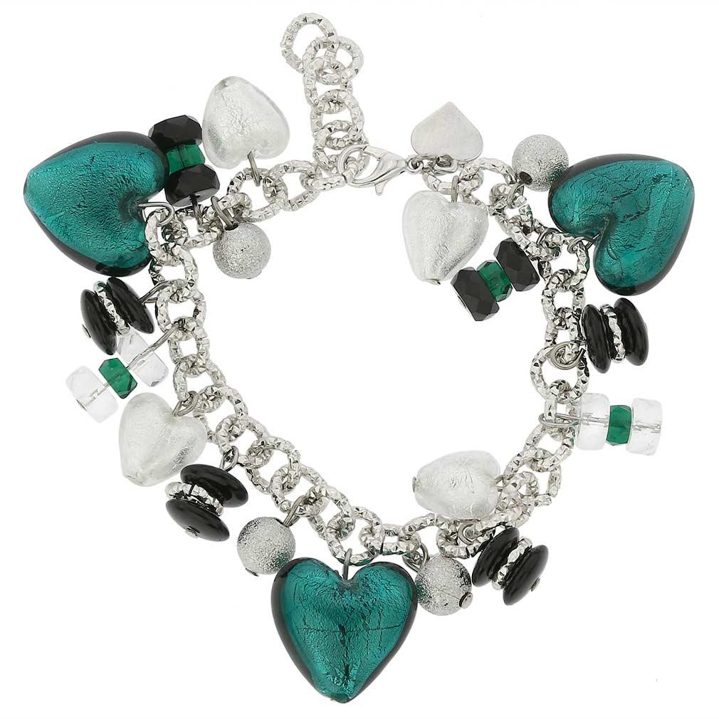 Donatella Murano Glass Hearts Charm Bracelet - Aqua