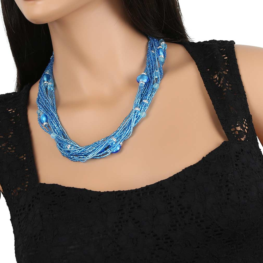 Alessia Murano Glass Necklace - Aqua Blue