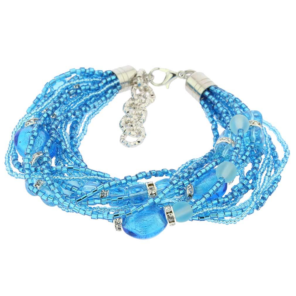 Alessia Murano Glass Bracelet - Aqua Blue
