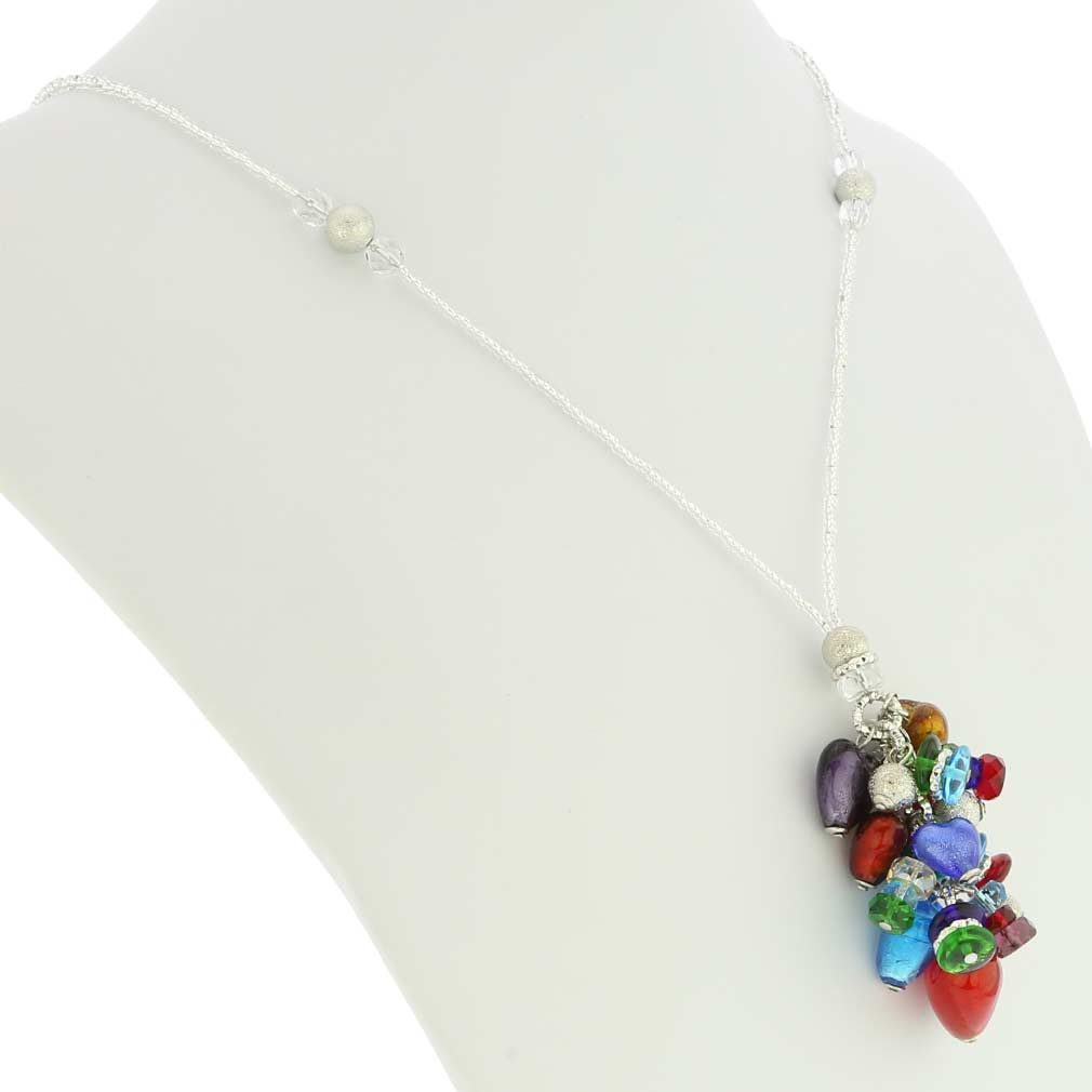 Donatella Murano Glass Heart Charms Necklace - Multicolor
