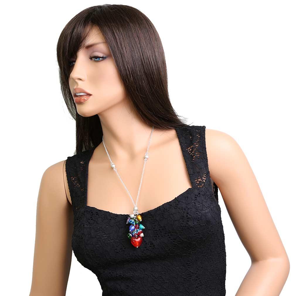 Donatella Murano Glass Heart Charms Necklace - Multicolor