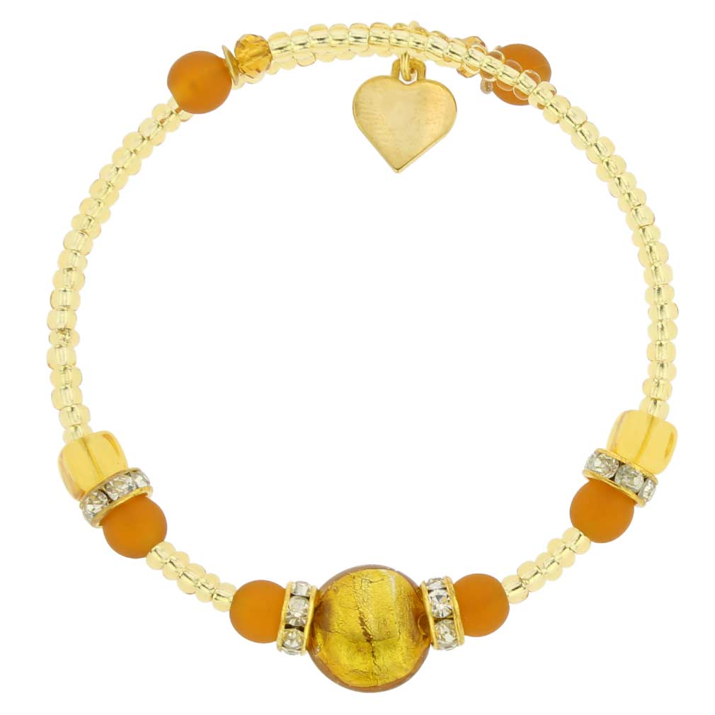 Carino Murano Glass Bracelet - Golden Brown