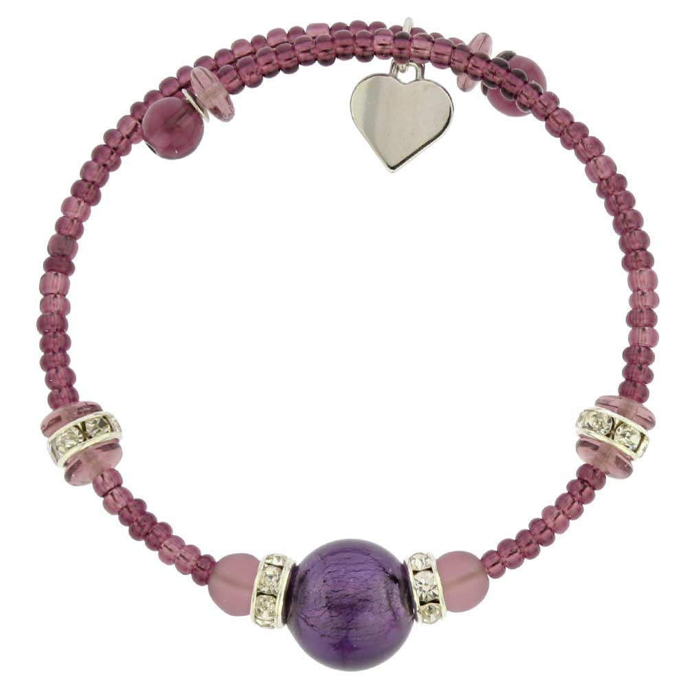 Carino Murano Glass Bracelet - Purple