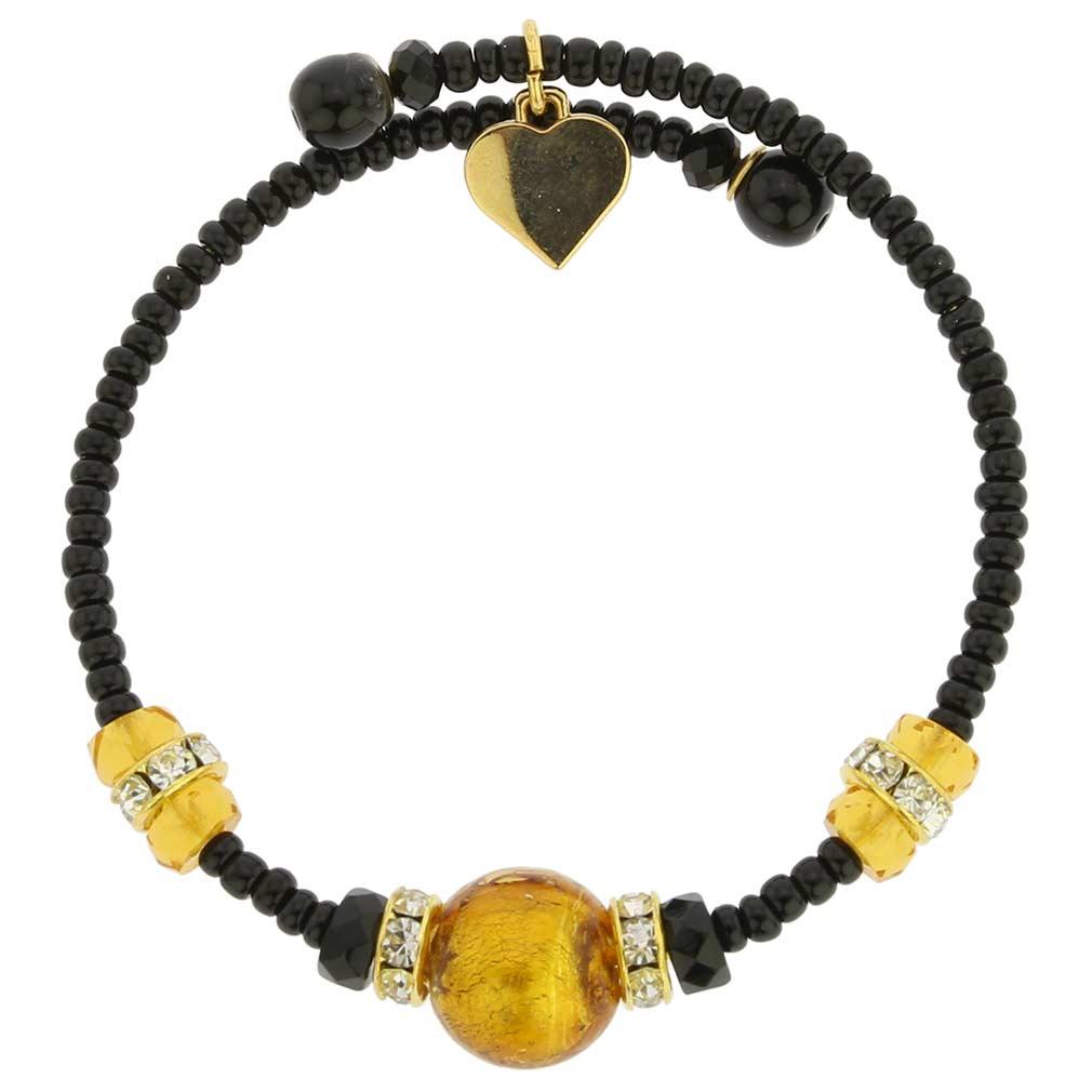 Carino Murano Glass Bracelet - Topaz Black