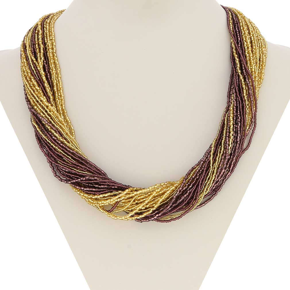 Dogaressa 48 Strand Necklace - Gold and Purple