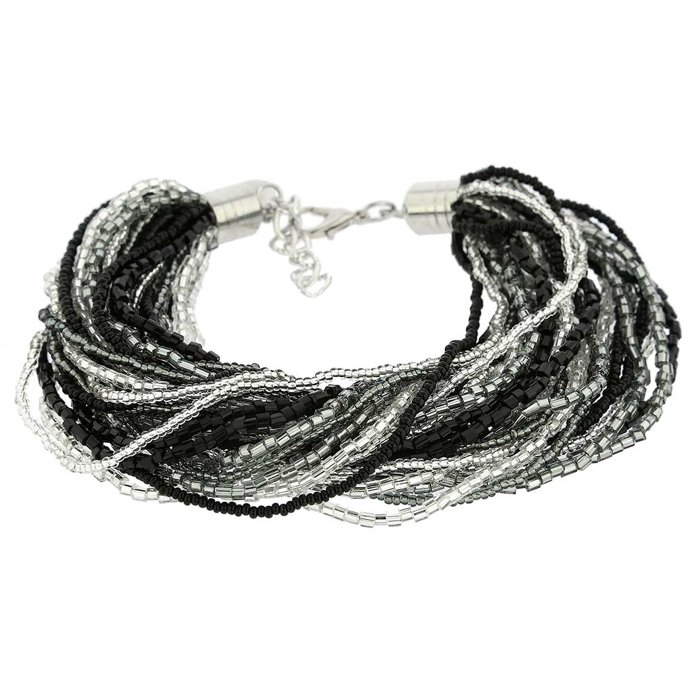 Gloriosa 36 Strand Seed Bead Murano Bracelet - Silver Grey and Black